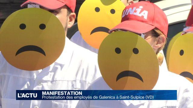 Protestation des employés de Galenica à Saint-Sulpice (VD)