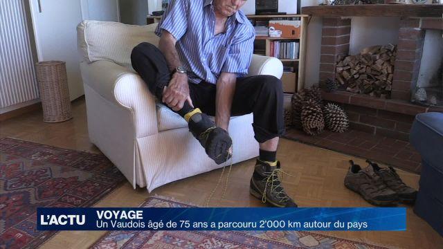 Âgé de 75 ans, il parcourt 2'000 km autour de nos frontières
