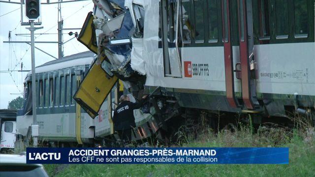 Les CFF blanchis dans l'accident de Granges-Marnand