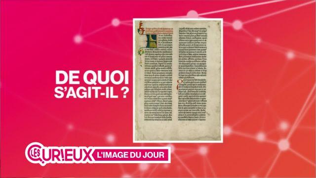 Une page de la Bible de Gutenberg à Fribourg