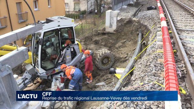 CFF : Reprise du trafic régional Lausanne-Vevey dès vendredi