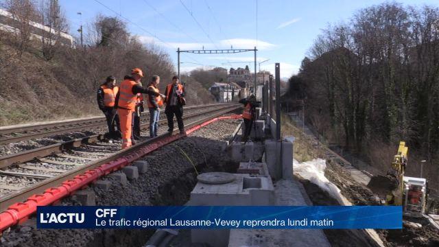 CFF: Le trafic régional Lausanne-Vevey reprendra lundi matin