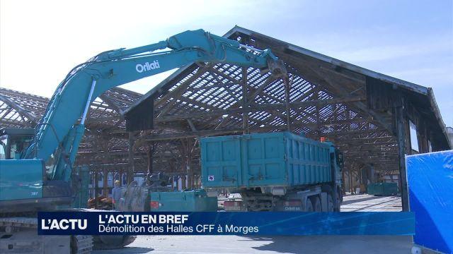 Phase de démolition pour les halles CFF de Morges