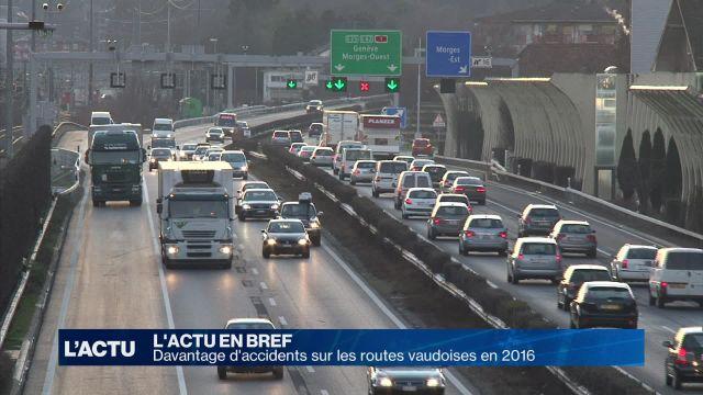 Davantage d'accidents sur les routes vaudoises en 2016