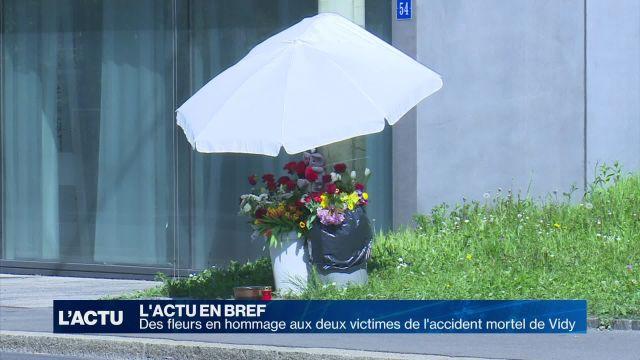 Des fleurs en hommage aux victimes de l'accident de Vidy