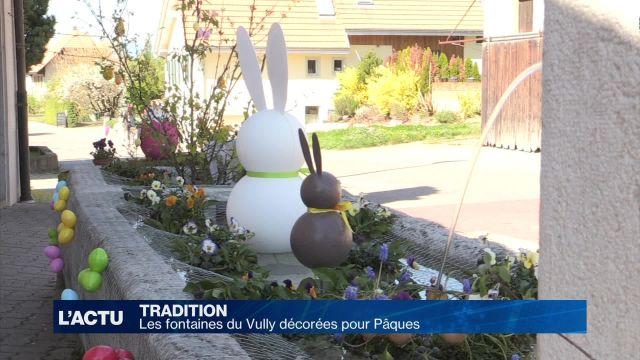 Les fontaines du Vully décorées pour Pâques