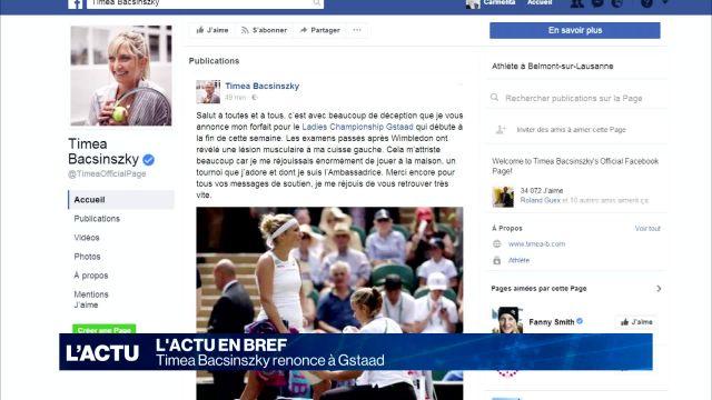 Timea Bacsinszky, blessée à la cuisse, renonce à Gstaad