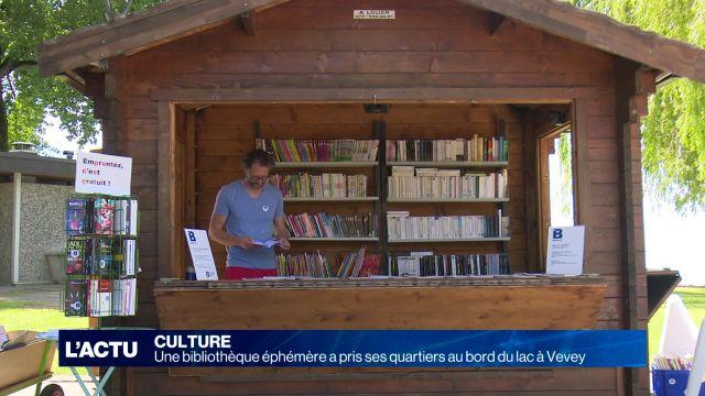 Une bibliothèque éphémère au bord du lac à Vevey