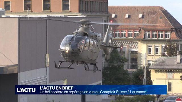 Hélicoptère en repérage en vue du Comptoir suisse