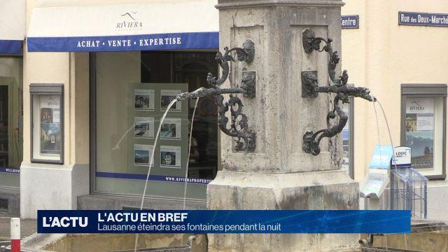 Lausanne veut stopper ses fontaines pendant la nuit