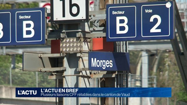 Plusieurs liaisons CFF rétablies dans le canton de Vaud