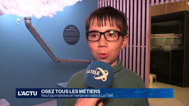Neuf écoliers découvrent le métier de journaliste à La Télé
