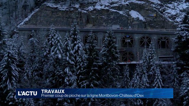 Premier coup de pioche sur la ligne Montbovon-Château d'Oex