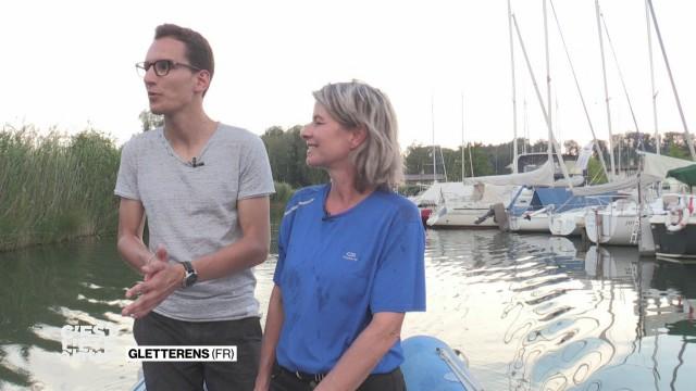 Stefane nous fait découvrir la capitainerie de Gletterens.