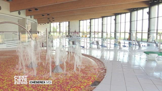 Stefane en balade à la piscine de Chéserex