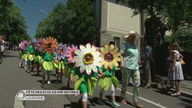 Cortège de la fête des écoles enfantines à Lausanne
