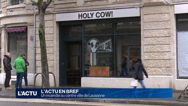 Un restaurant du centre ville de Lausanne en flammes