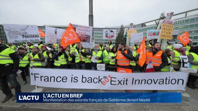 Manifestation des salariés français devant Nestlé