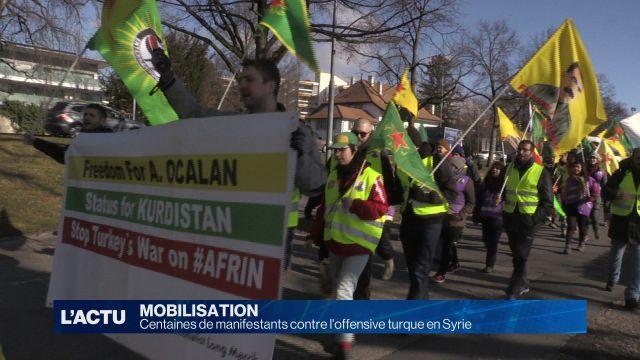 Centaines de manifestants contre l'offensive turque en Syrie