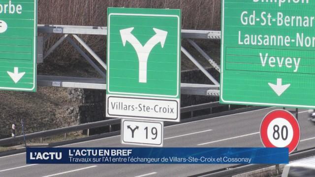 Travaux entre l'échangeur de Villars-Ste-Croix et Cossonay