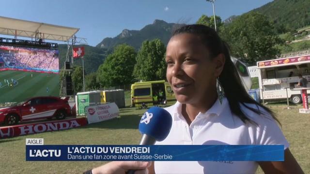La fan zone d'Aigle se prépare pour Suisse-Serbie