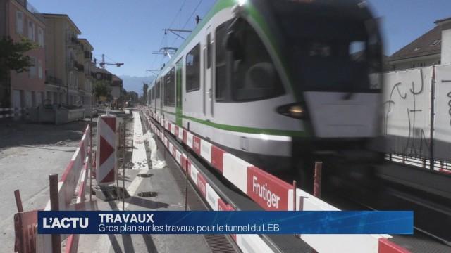 Gros plan sur les travaux pour le tunnel du LEB