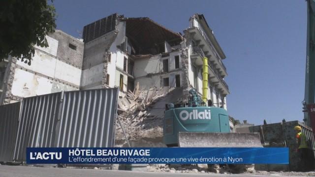 Une façade de l'Hôtel Beau-Rivage s'effondre