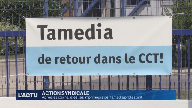 Action de protestation des imprimeurs de Tamedia