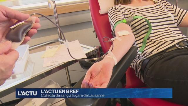Collecte de sang à la gare de Lausanne