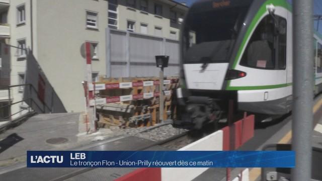 Le tronçon Flon - Union-Prilly du LEB réouvert dès ce matin