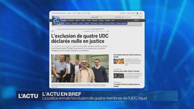 La justice annule l'exclusion de quatre UDC vaudois