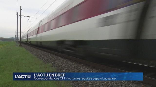 Correspondances CFF nocturnes réduites depuis Lausanne
