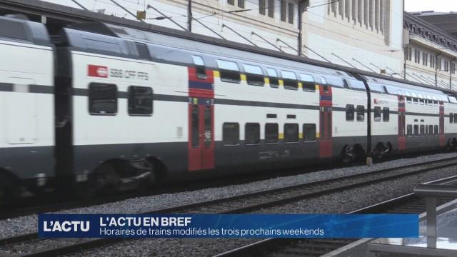 Horaires de trains modifiés les trois prochains weekends