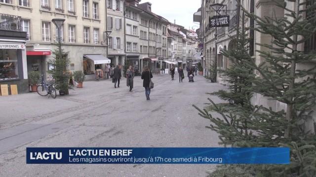 Les commerces ouvriront jusqu'à 17h samedi à Fribourg