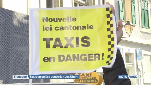 Les Taxis lausannois manifestent contre la « Lex Uber »