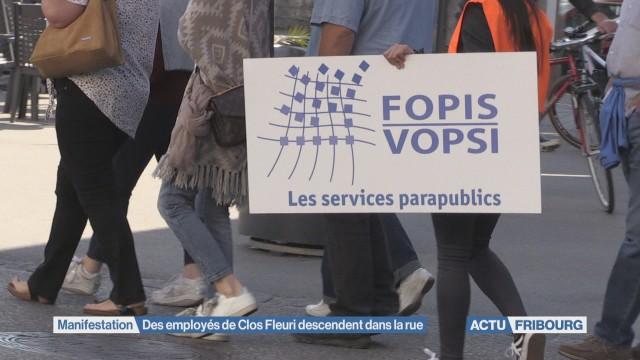 Des employés de Clos Fleuri descendent dans la rue